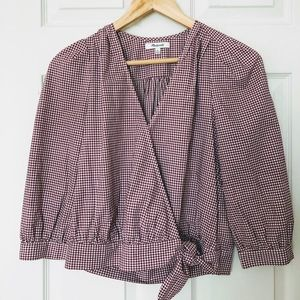 Madewell Gingham Wrap Top